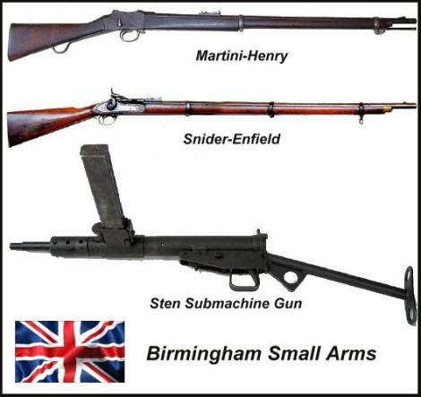 Martini-Henry rifle, Snider-Enfield, Sten submachine gun