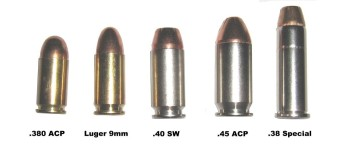 Cartridges: .380 ACP, Luger 9mm, .40SW, .45 ACP, .38 Special